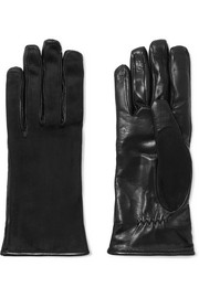 Suede and leather gloves