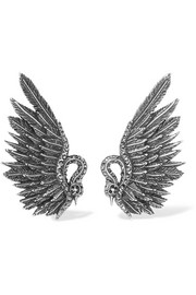 Lanvin Antiqued silver-tone crystal clip earrings