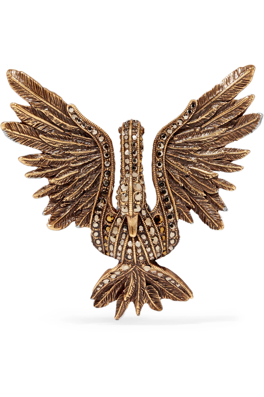Lanvin Patinierte goldfarbene Brosche mit Kristallen