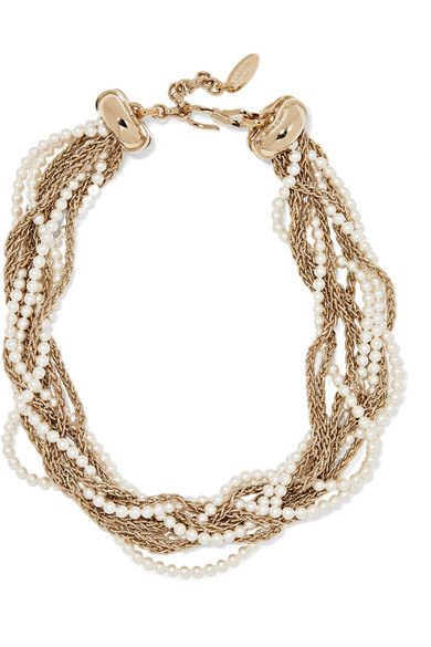 Lanvin - Gold-plated Faux Pearl Necklace
