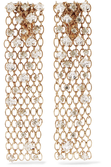 Lanvin - Gold-tone Crystal Clip Earrings at NET-A-PORTER