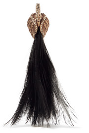 Lanvin Gold-plated, Swarovski crystal and feather clip earring