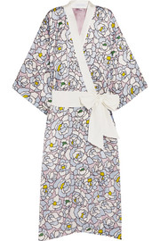Queenie Dione floral-print silk-satin robe