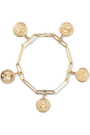18-karat gold diamond charm bracelet