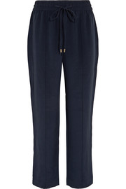 Gio grosgrain-trimmed washed-silk track pants