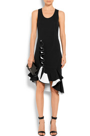 Givenchy Ruffled two-tone stretch-knit dress