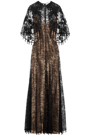 Givenchy Cape-effect embellished Chantilly lace gown