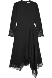 Givenchy Asymmetric Chantilly lace-trimmed cady dress