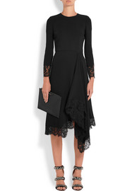 Givenchy Asymmetric Chantilly lace-trimmed cady midi dress