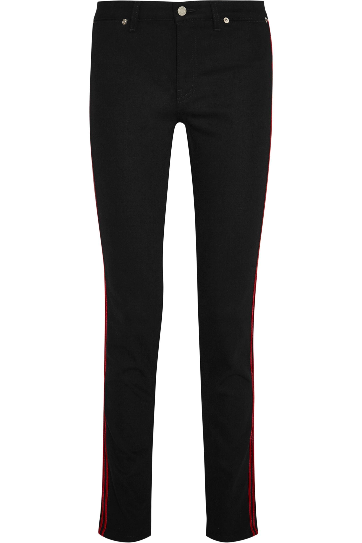 Givenchy Velvet-trimmed mid-rise skinny jeans