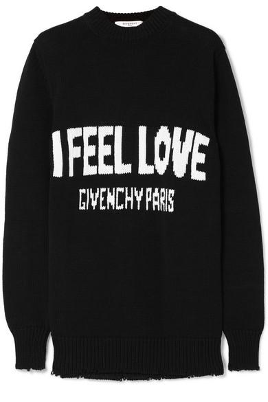 Givenchy Baumwollpullover mit Intarsienmotiv