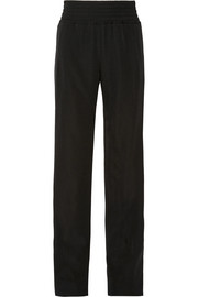 Satin-trimmed grain de poudre wool wide-leg pants