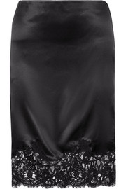 Givenchy Cotton-blend lace-trimmed silk-satin skirt