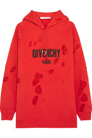 Givenchy Distressed chiffon-paneled cotton-jersey hooded sweatshirt