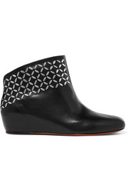 Alaïa Embellished leather wedge ankle boots