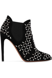 Studded suede ankle boots