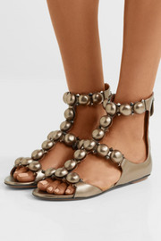 Studded metallic leather sandals