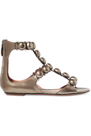 Bombe studded metallic leather sandals