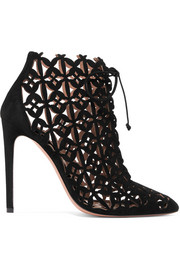 Laser-cut suede ankle boots