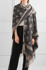 Reversible intarsia wool and cashmere-blend cape