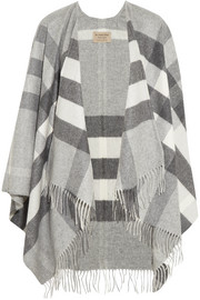 Checked cashmere and merino wool-blend wrap