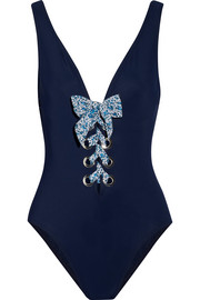 Karla Colletto Iris lace-up swimsuit