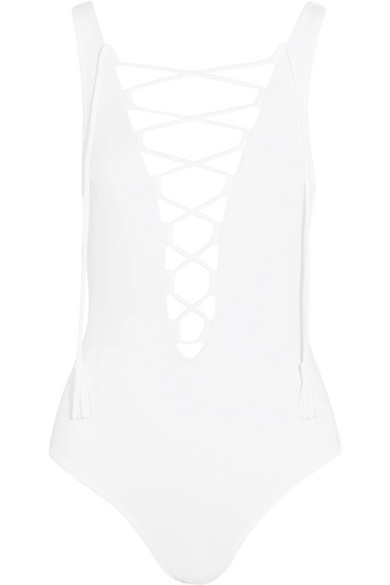 Karla Colletto - Entwined Lace-up Swimsuit - White