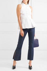 Antonio Berardi Paneled cotton-poplin peplum top