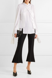 Antonio Berardi Satin-paneled crepe de chine blouse