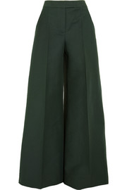 Cotton and wool-blend wide-leg pants