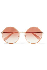 Round-frame rose gold-tone sunglasses