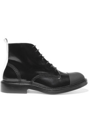 Joseph Rubber-paneled glossed-leather boots