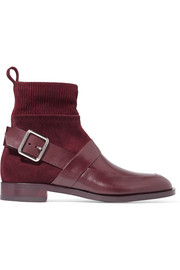 Fusion suede and leather ankle boots