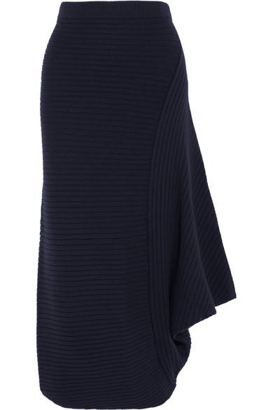 J.W.Anderson - Infinity Ribbed Merino Wool Skirt - Navy