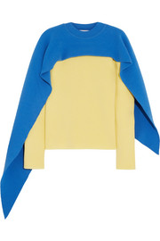 J.W.Anderson Cape-effect two-tone wool and cashmere-blend sweater