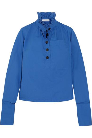 J.W.Anderson - Ruffled Cotton-poplin Top - Cobalt blue