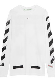 Off-White Oversized printed cotton-jersey top