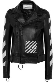 Off-White Printed leather biker jacket