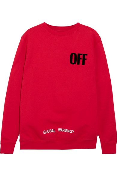 Off-White - Oversized Appliquéd Printed Cotton-jersey Sweatshirt - Red