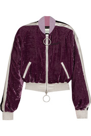 Off-White Satin-trimmed crushed-velvet bomber jacket
