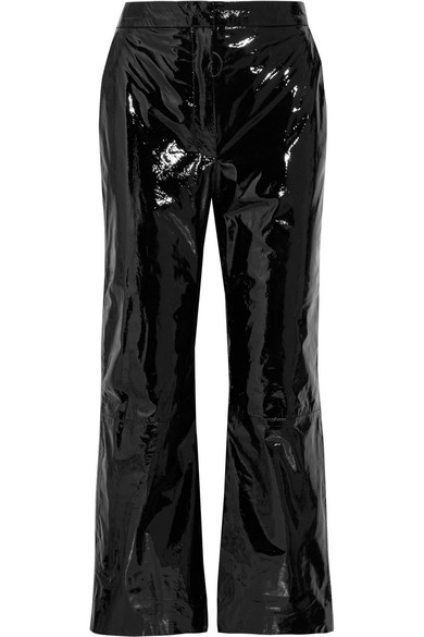 Off-White - Suede-appliquéd Cropped Patent-leather Pants - Black