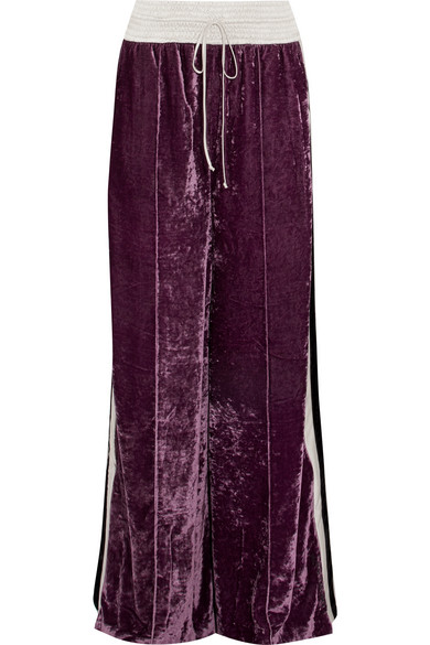 Off-White - Satin-trimmed Crushed-velvet Track Pants - Grape