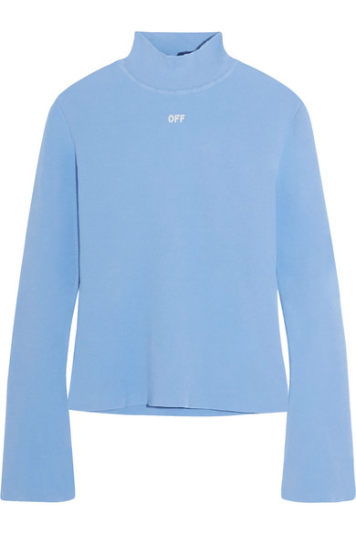 Off-White - Angel Stretch-knit Turtleneck Top - Sky blue