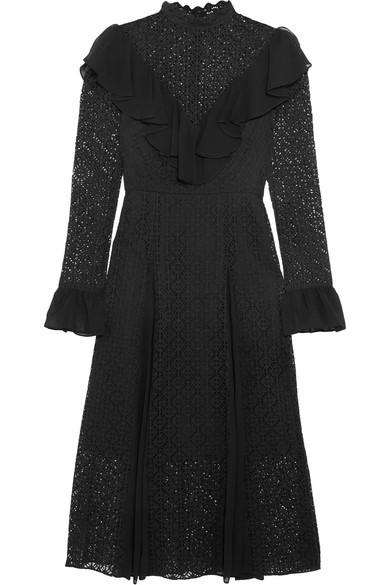 Temperley London - Prairie Ruffled Chiffon-trimmed Guipure Lace Midi Dress - Black