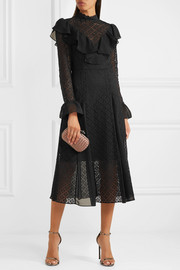 Temperley London Prairie ruffled chiffon-trimmed guipure lace midi dress