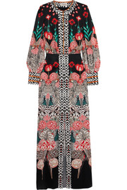 Temperley London Blaze printed silk-satin gown