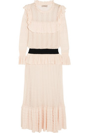 Temperley London Cypre ruffled pointelle-knit midi dress