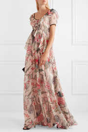 Temperley London Shire ruffled printed Swiss-dot chiffon maxi dress
