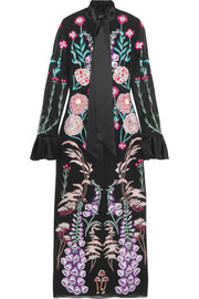 Temperley London Woodland satin-trimmed embroidered silk-chiffon midi dress