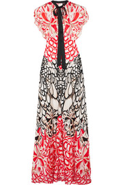 Blaze open-back printed silk gown
